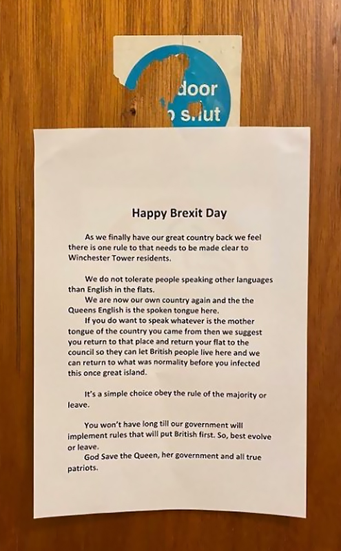 Notice posted on apartment doors stating that residents are prohibited from speaking a language other than English.
