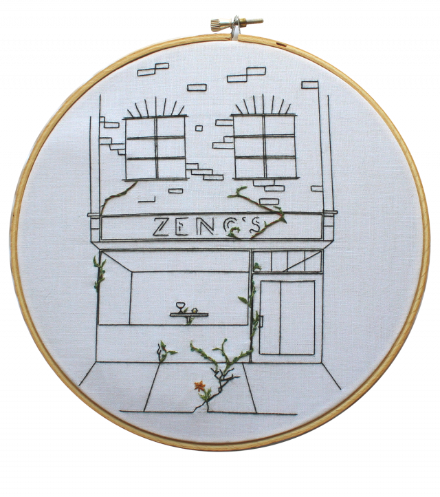 Embroidery of a restaurant's cracked exterior, with some plants growing from the cracks.