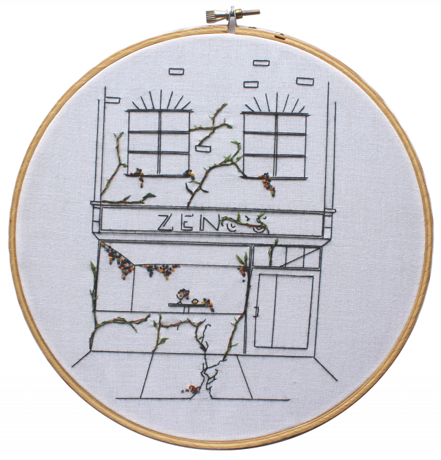 Embroidery of a restaurant's cracked exterior, with plants growing from the cracks.