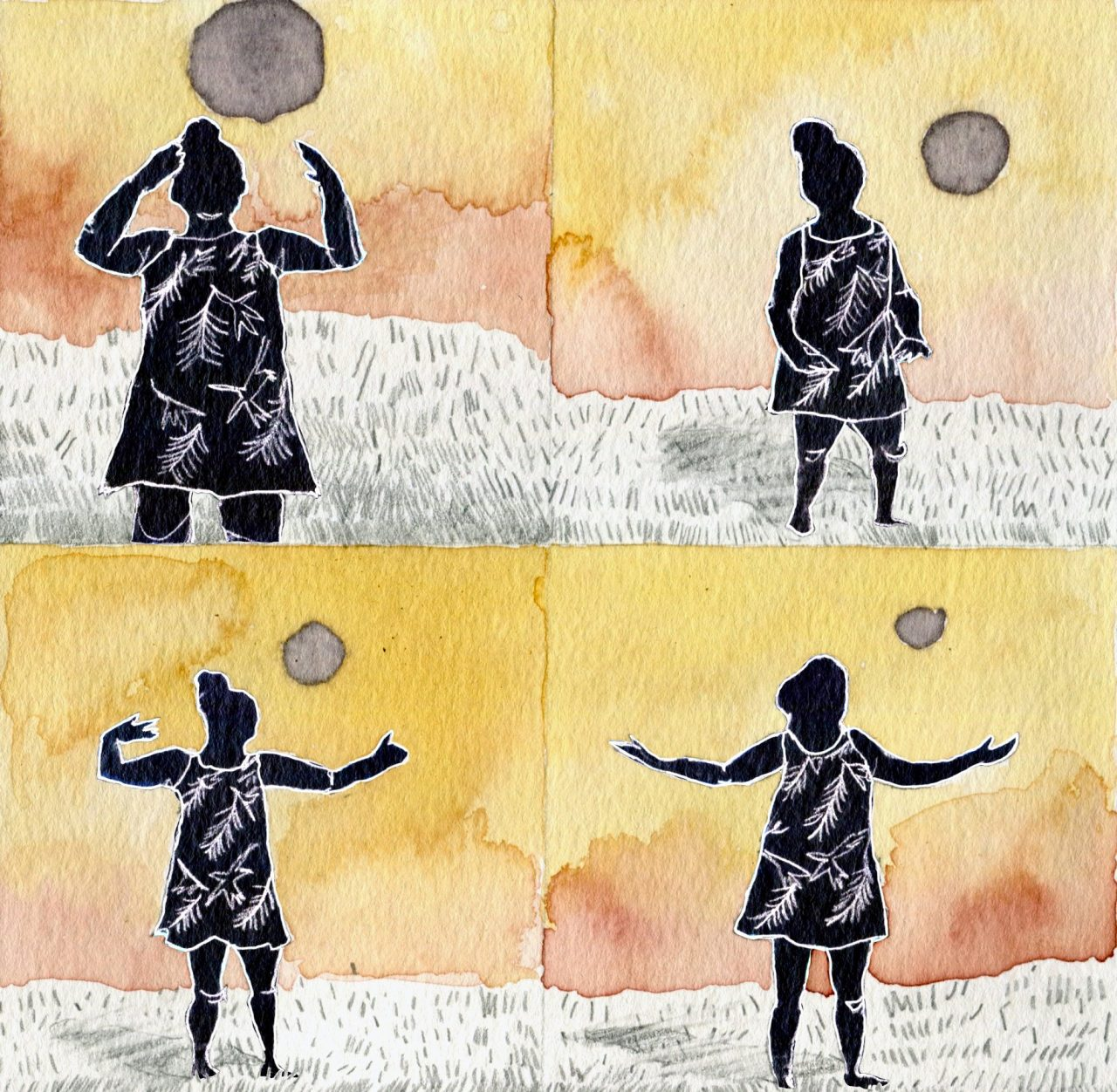 A digital-ink illustration in four quadrants of a pregnant woman doing Qi Gong. Her body and clothes are all painted black with white outlines. In each quadrant, she holds a different Qi Gong posture with a golden/pink sky in the background. The ground is white with graphite marks depicting grass.