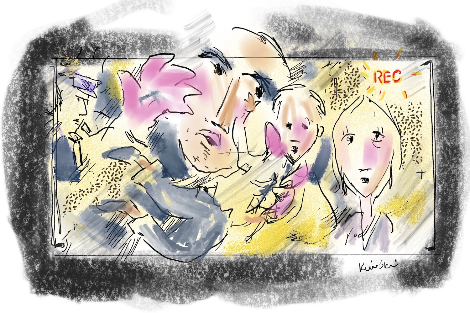 An illustration with four sketchy figures inside a video camera's frame.