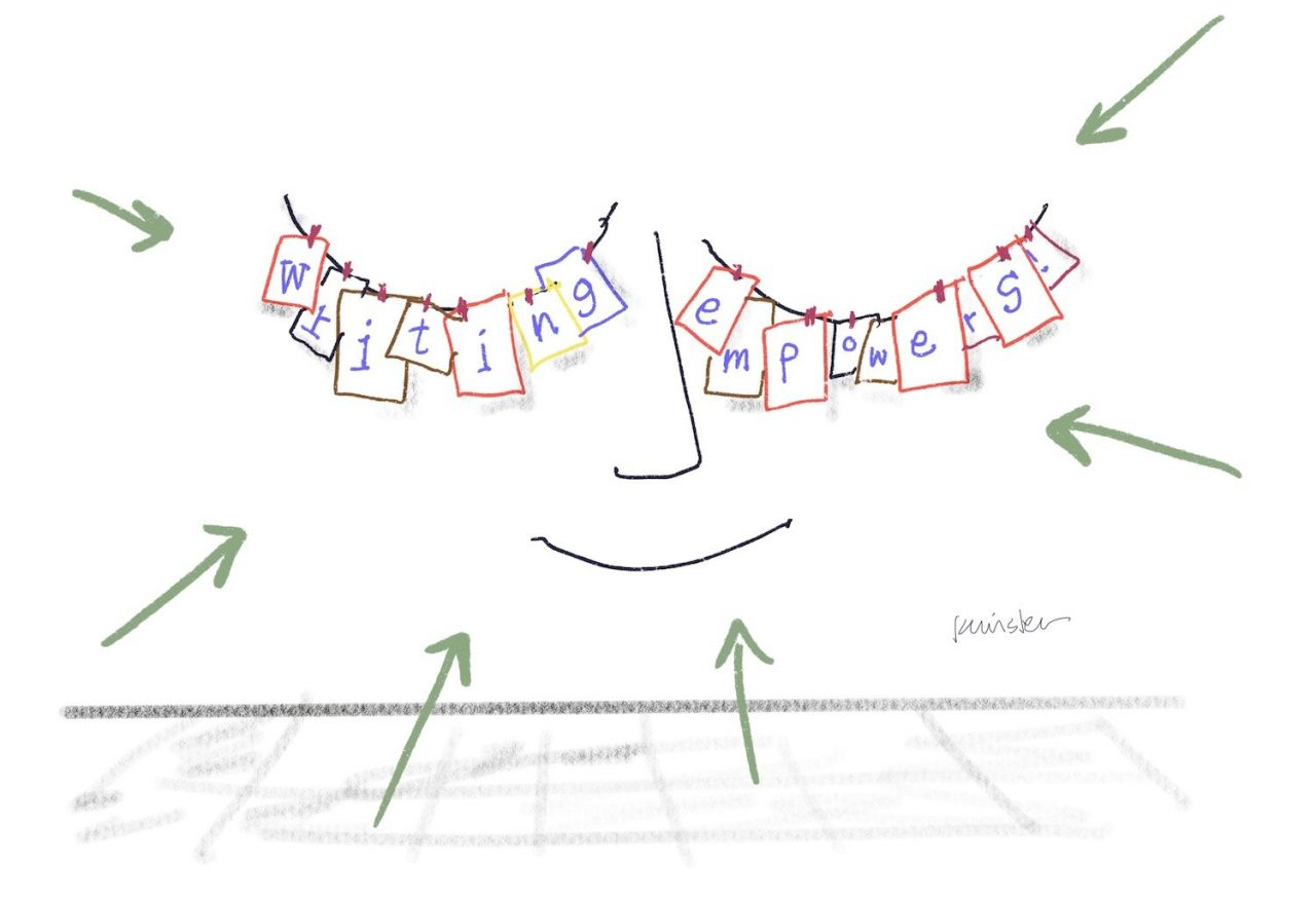 """Papers hanging from a clothesline create closed eyes, with a smile underneath. Letters written on the pages spell out """"Writing empowers!"""""""