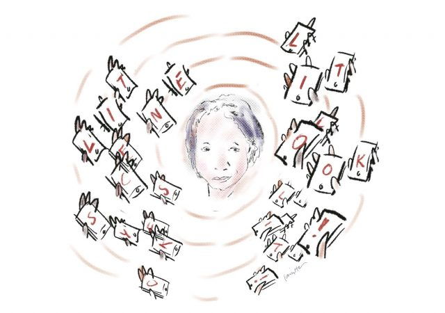 A sketch of the author's face is surrounded by hands holding up cellphones.
