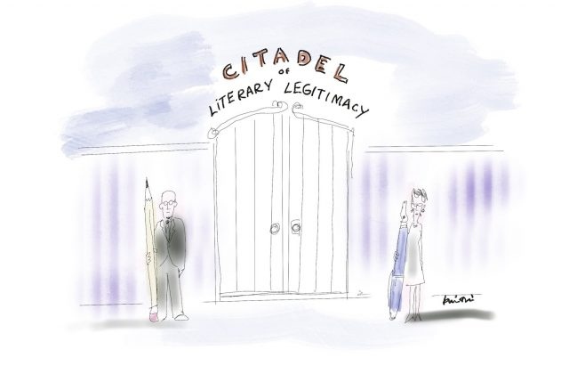 """A white man with a pencil and a white woman with a pen stand guard in front of a closed gate labelled """"Citadel of Literary Legitimacy"""""""