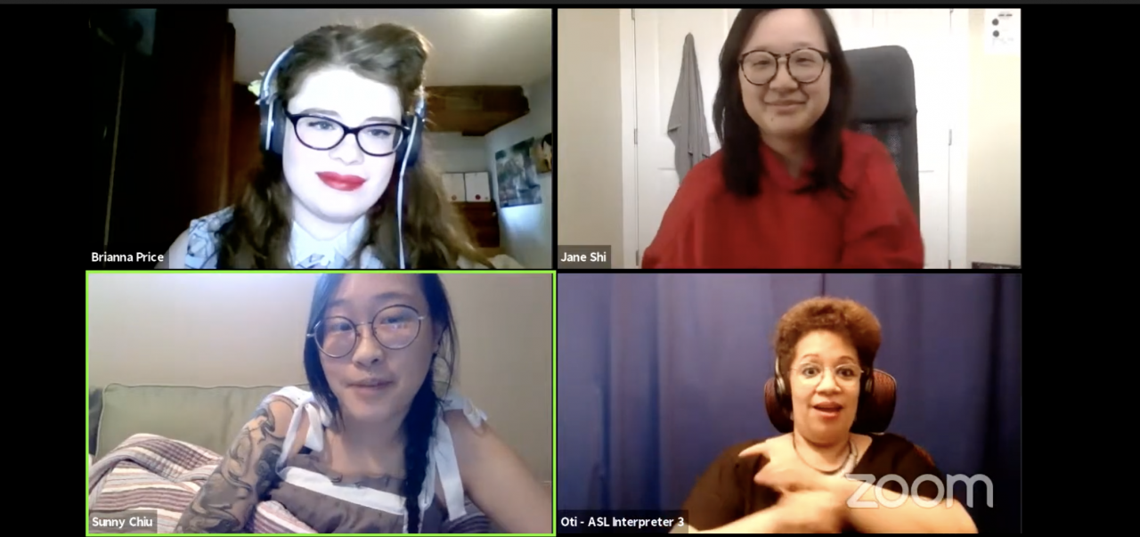 A photo of a zoom session with four quadrants published on YouTube of the Disability Filibuster held in March of 2021.  Brianna Price is in the top left corner. She has pale skin, long blonde hair, headphones, black-rimmed glasses and red lipstick. Jane Shi is in the top right corner. She is Asian with brown hair to her shoulders, a red blouse, tortoise-rim glasses, and she is smiling. In the bottom left corner is Sunny Chiu. Sunny is Asian with round, thin rimmed glasses, and a black braid. She is sitting under a blanket but we see her tatooed arm and brown and white tanktop tied in bows at her shoulders.  In the bottom right is the ASL interpreter. She has brown skin and short reddish brown hair and wears glasses, headphones, and a black shirt, and is gesturing with her hands.