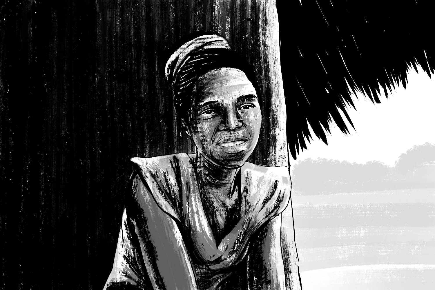 black and white illustration of woman sitting in front of house
