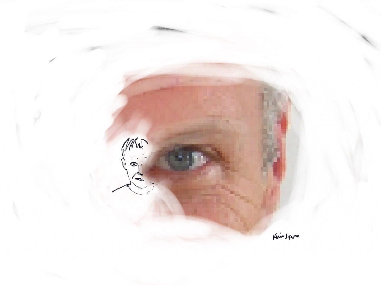 A pixelated photo of Dennis Cooper's eye and ear merges with a smaller sketch of the rest of his face.