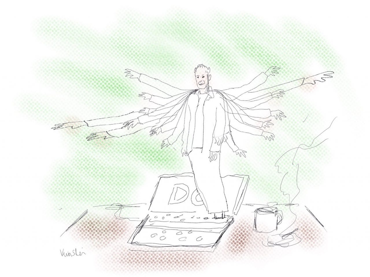 A sketch of Dennis Cooper with many arms rises out of a laptop that has his blog on the screen.