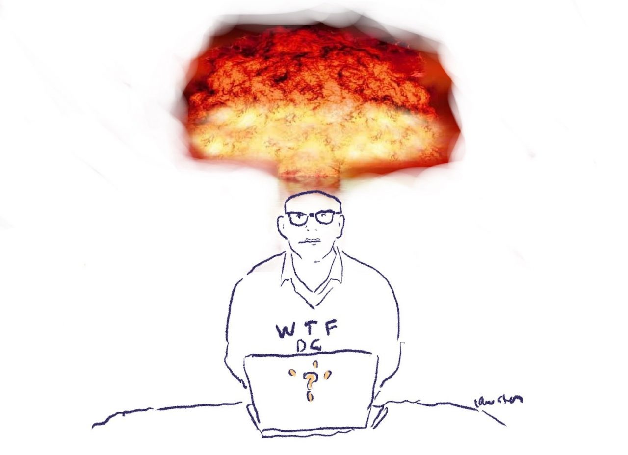 """Drawing of a man with glasses sitting at a laptop wearing a shirt that reads """"WTF DC?"""" An atomic explosion rises from his head."""