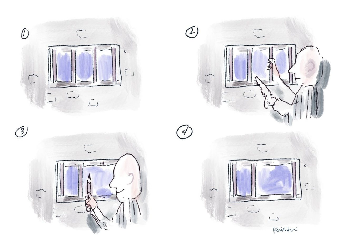 Four panel comic where a prisoner saws off the bars to their cell window, then uses one bar as a pencil.