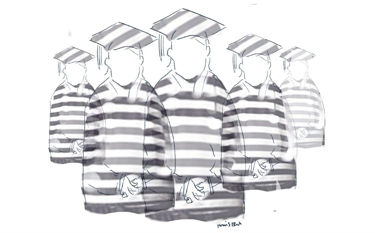 Five faceless people wearing graduation garb with prison stripes on them.
